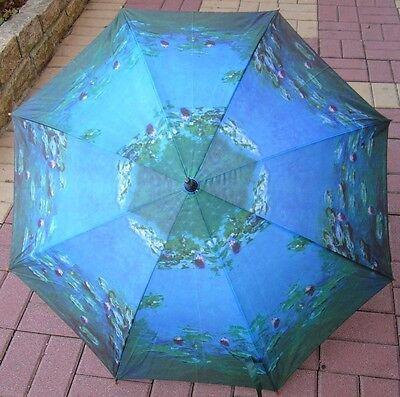 Monet's Waterlilies Woodhandle Art Umbrella
