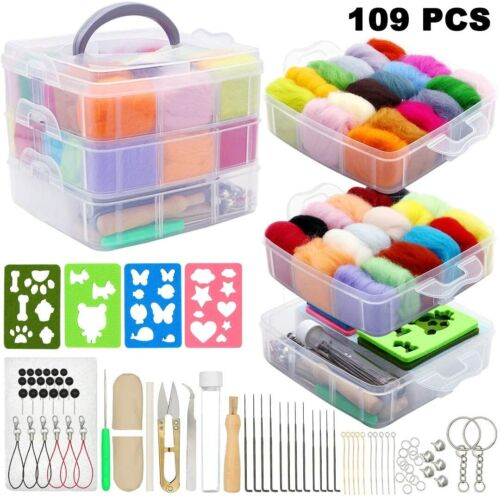 Nice! Felting Kit Complete 36 Colors Wool 3g Each Needles Tools 109 Pieces
