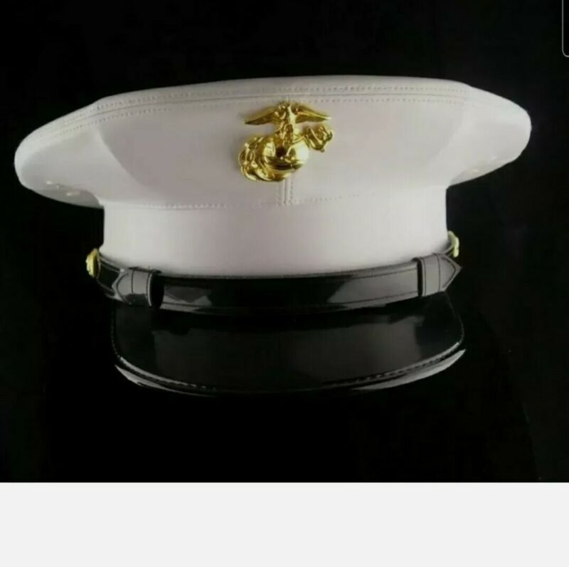USMC Dress white marine hat -  White vinyl - never worn Reproduction