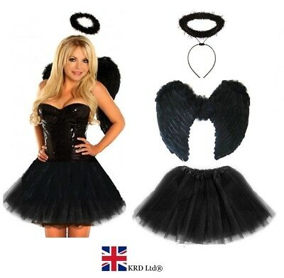 LLEN ANGEL Fancy Dress Costume Halloween Black Fairy Outfit (Fallen Angel Outfit)