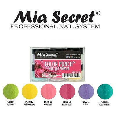 Mia Secret Color Punch Acrylic Powder Collection Set of 6 Professional Nail Art