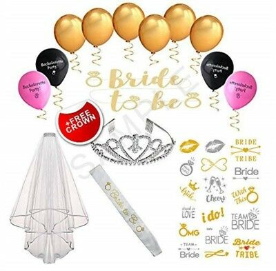 Bachelorette Party Bride to Be Decorations Kit - Bridal Shower Supplies Sash New (Bachelorette Party Kit)