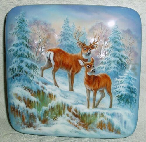 Russian Lacquer box Fedoskino Deer couple in the winter forest Hand Painted