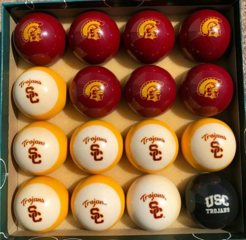 USC TROJANS Logo Billiard, Pool Ball Set - Used, Good Condition