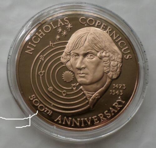 Astronomer Nicholas Copernicus Solar System Earth Planets Proof Bronze Medal