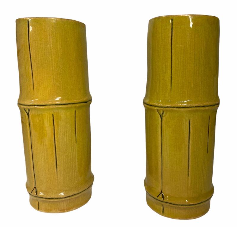 VTG Paul Marshall PMP 61 Ceramic Tiki Bamboo Tumbler Glasses Hawaii Japan Set 2