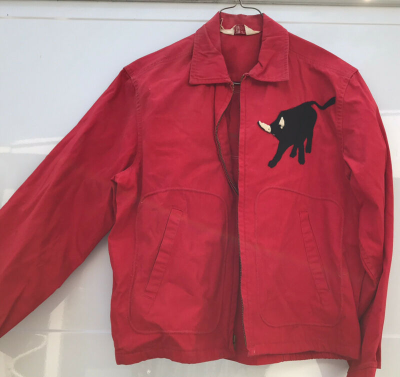 BSA Vtg 50s 60s RED BOY SCOUT JACKET Patches Indian Buffalo ESTATE Free Shipping