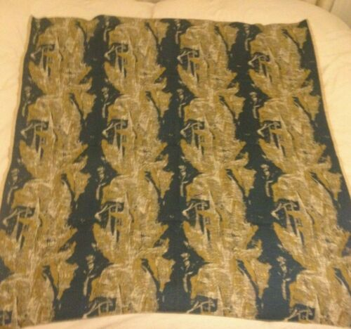 """Fabric Blue Cream Gold 49"""" x  52"""" Very Old - Beautiful Condition"""