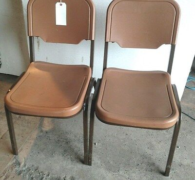 50+ ICEBERG BROWN OR GRAY STACKING CHAIRS  H/DUTY METAL PLASTIC SEATS