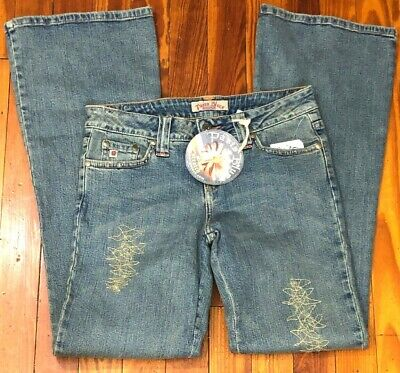 Distressed Gold Finish (NWT Paris Blues Jeans Size 3 Retired Distressed Vintage Finish Flare Gold Accent)