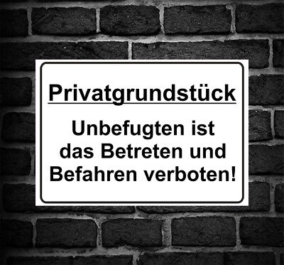 "Schild Hinweisschild Hinweis ""Privatgrundstück"" Betreten Befahren Verboten PKW"