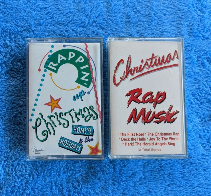 CHRISTMAS RAP 2 Cassette Tape Lot Rappin