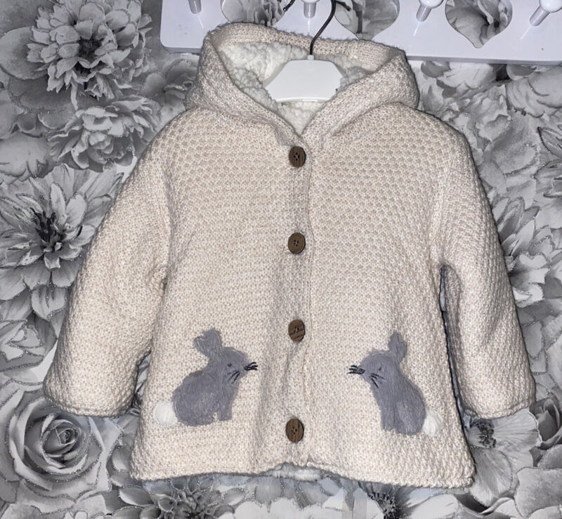 Girls Age 3-6 Months - Fleece Lined Cardigan / Soft Coat