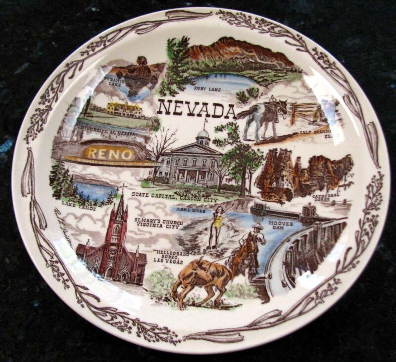 NEVADA (Artist: P. L. Davidson) Color Vernon Kilns Collector's Plate circa 1950