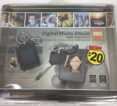 """NEW Digital Photo Album with Keychain 1.4"""" High Resolution LCD 8Mb Rechargeable"""