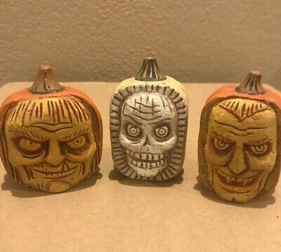 Bethany Lowe Greg Guedel Halloween Scary Carved Pumpkins—set of 3—Rare—Retired