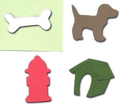 20 Dog lover mini accucut die cuts Dog Kennel Bone Hydrant 4x3.5cm card making