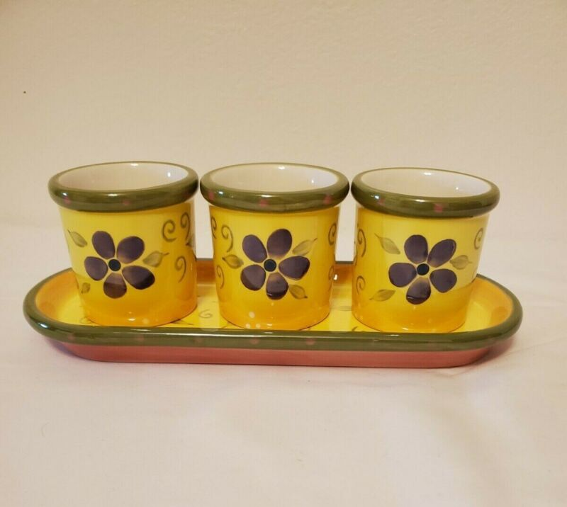 Party Lite Set of 3 Ceramic Votive Candle Holders with Tray Yellow Floral