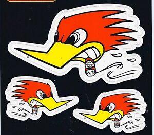 Mr Horsepower Racing Decals Sticker Sheet of 3 Vinyl Woodpecker