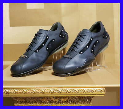 NEW VERSACE JEANS COUTURE BLACK BRUSHED CALF LEATHER LACE-UP SNEAKERS 42 - 9