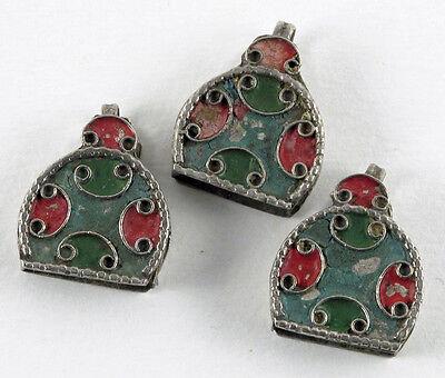 Trio of Enamel Pendants/ Vintage Morocco