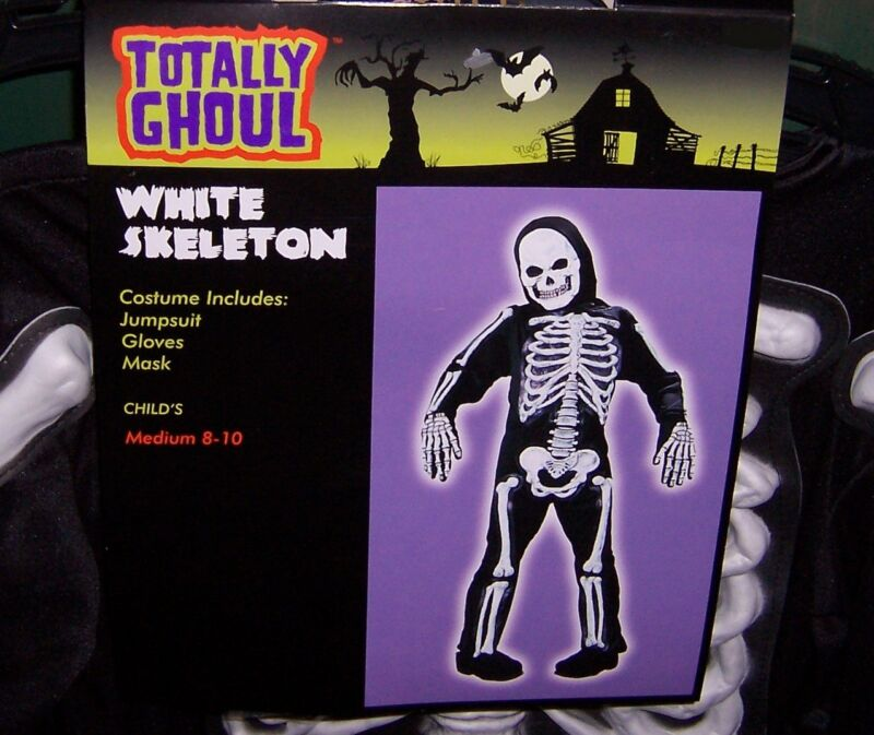TOTALLY GHOUL WHITE SKELETON  HALLOWEEN COSTUME NWT!  CHILDS SIZE MEDIUM