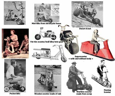 Vintage Plans Collection Gas/Electric Motorized bikes, Scooters, Mini-Bikes,more for sale  Shipping to India
