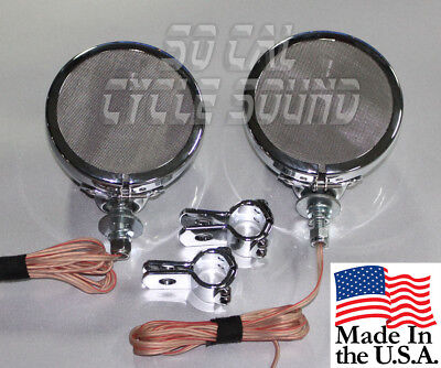 Marine Rated 4in Chrome Motorcycle Handlebar Speakers Pair - Chrome Clamps