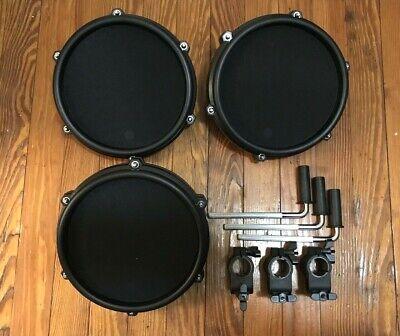 "Set of 3 Alesis 8"" Mesh Drum Pads NEW w/Nitro Clamp & L-Bar (Single Zone) Kit"