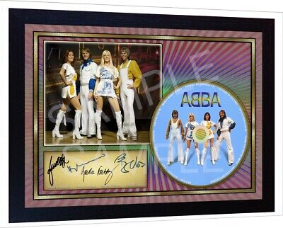 NEW! Abba Hits SIGNED FRAMED PHOTO print CD Disc Autograph