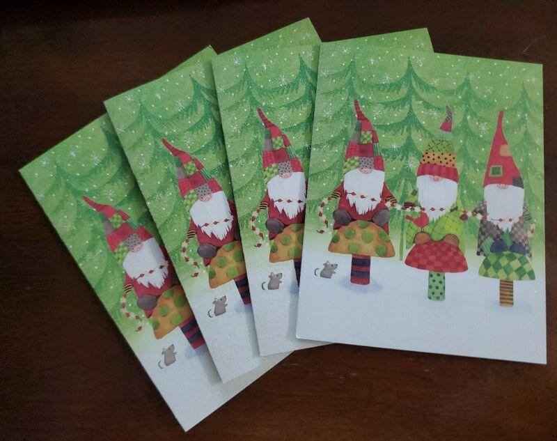 4 Design Design Gnome Christmas Cards w/envelopes, Gnomes on mushrooms