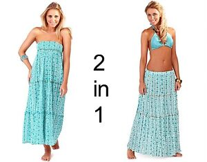 BEACHWEAR-LADIES-2-IN-1-COTTON-BANDEAU-SUMMER-DRESS-SKIRT-FLORAL-PRINT-COVER-UP