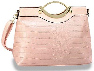 Embossed Fashion Tote - NEW 2017 Spring Summer Classy Pink Alligator Embossed Retro Fashion Handbag Tote