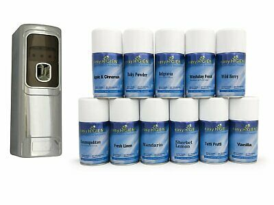 EXEC CHROME Automatic Air Freshener Dispenser Wall Mounted + 12 MIXED Refills