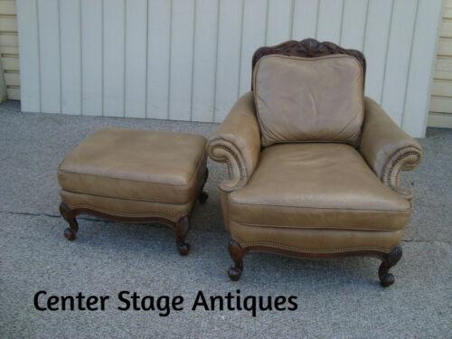 60517 HANCOCK MOORE Leather Chair w/ Ottoman Stool
