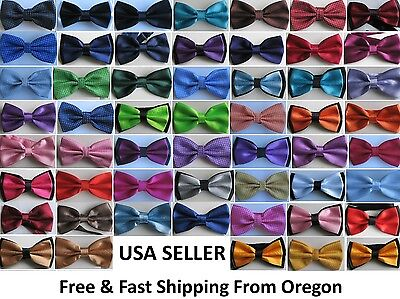 (All Colors) Men's Tuxedo Classic Bowtie Multi Style Neckwear Adjustable Bow Tie ()