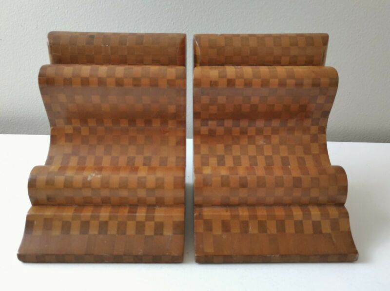 Antique Wood Inlay Inlaid Bookends Marquetry Vintage Checker Folk Art