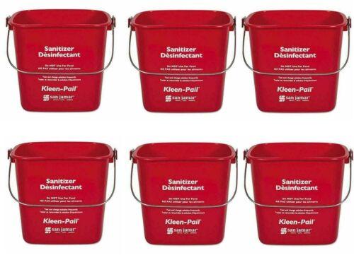 6 Pack San Jamar KP97RD 3 qt. Plastic Kleen Pail, Red, Sanitizer Bucket