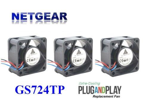 3x New Replacement Fans for Netgear GS724TP Delta Fan 24dBA Noise