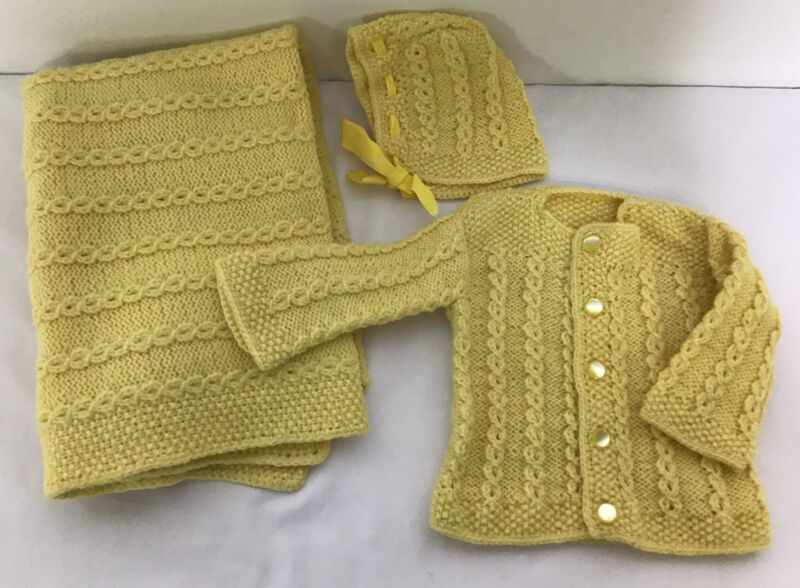 Vintage Hand Knitted Baby Blanket Sweater & Bonnet Yellow