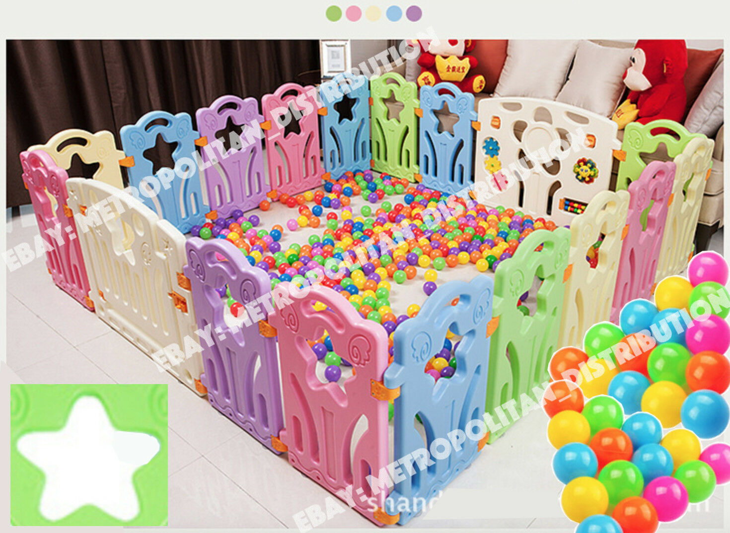 STAR 18Piece playpen+100 ball,foldable Kid/children/baby Room Divider/fence/zone