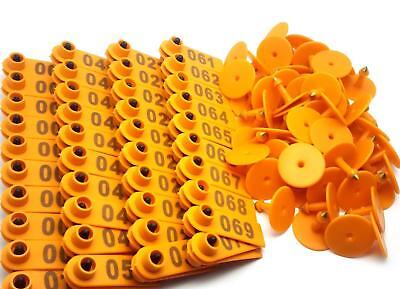 Us Stock 100x Orange 001-100 Number Plastic Livestock Ear Tag For Goat Sheep