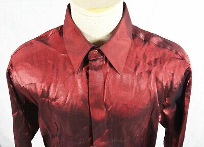 Metallic RED stainless steel dress shirt 16.5 medium burgundy steampunk vintage