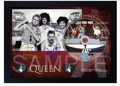 QUEEN Freddie Mercury MUSIC LIVE Aid SIGNED FRAMED PHOTO CD
