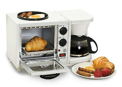 Breakfast Station   Elite Cuisine 3 In 1 Toaster Oven Coffee Maker Griddle