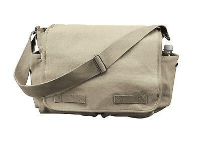 Rothco 9848 Brand New  Khaki Vintage Canvas Classic Messenger Bag Classic Vintage Messenger Bag