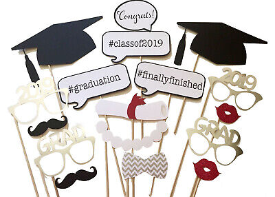 17PCS 2019 Graduation Party Masks Photo Booth Props Mustache Grad Party US...