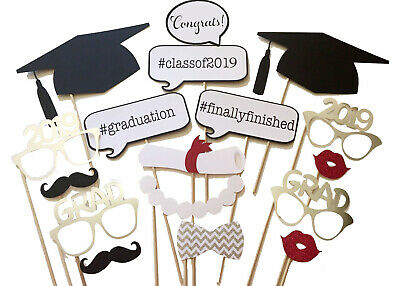 17PCS 2019 Graduation Party Masks Photo Booth Props Mustache Grad Party US Stock