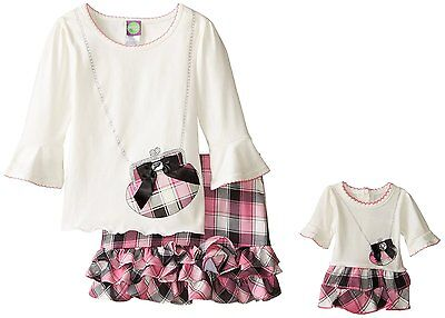 Dollie Me Girl 8-12 and Doll Matching Pink Plaid Skirt Top Outfit American Girl