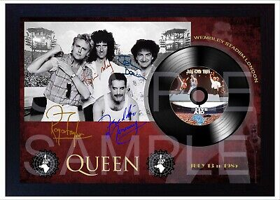 Freddie Mercury Queen Wembley  MUSIC  SIGNED FRAMED Print LP Vinyl Great Gift